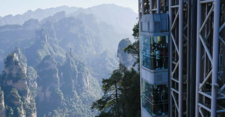 The three double-decker elevators in central China