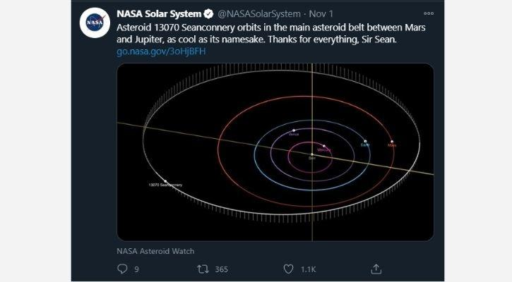 sir sean connery nasa asteroid