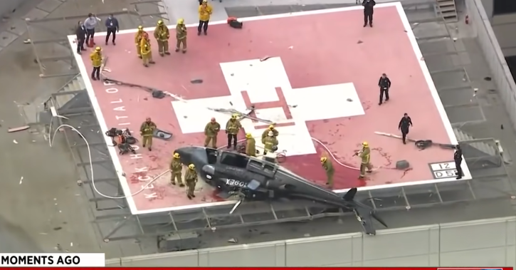It is not yet known how the helicopter crash-landed into the helipad (Picture: Fox)   Read more: https://metro.co.uk/2020/11/08/medic-drops-heart-after-helicopter-crashes-delivering-it-to-hospital-13558861/?ito=cbshare  Twitter: https://twitter.com/MetroU