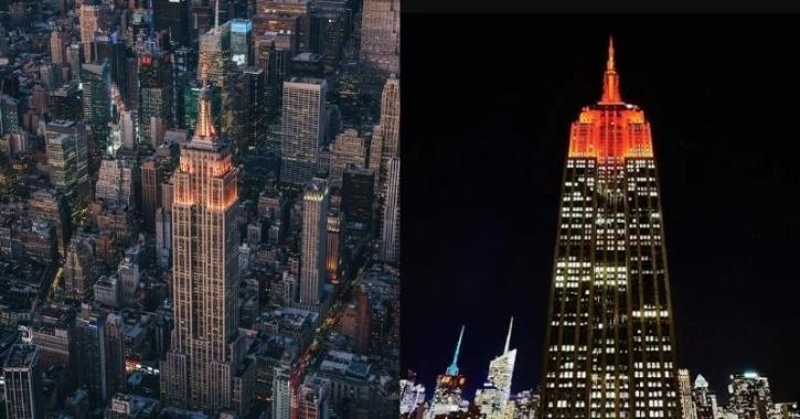 : The iconic New York city destination Empire State Building was lit up in orange to commemorate Diwali - the festival of lights.