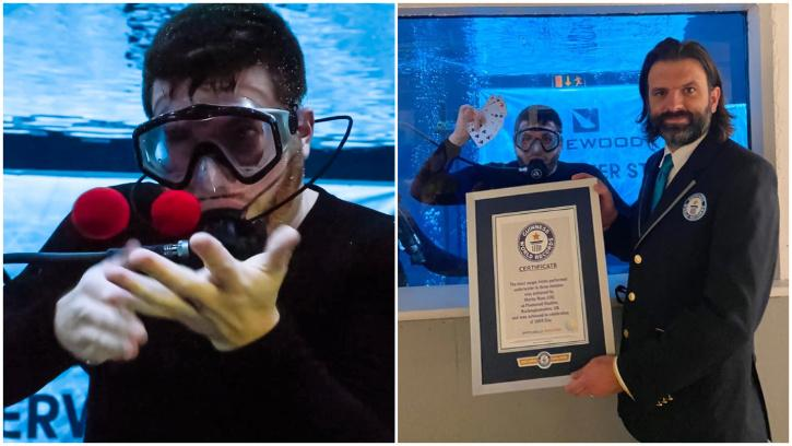 A British magician broke a Guinness World Record when he performed 20 magic tricks under water in just three minutes.