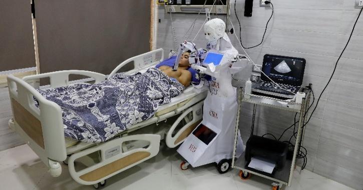 Cira 3 robot examines a volunteering patient