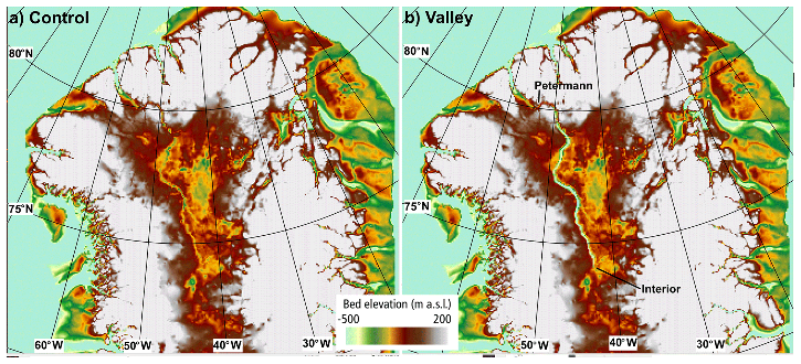 Basal topographic height between −500 and 200m above sea level f