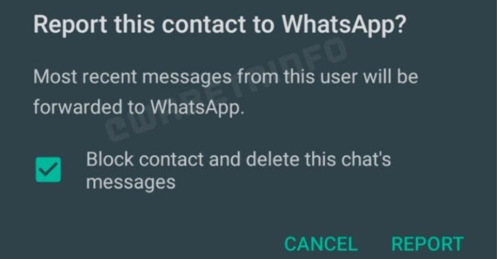 Whatsapp spam reporting feature