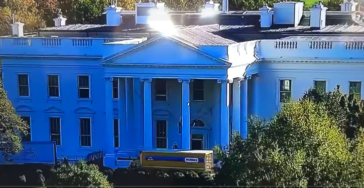 n live footage from the White House, the door appears to be blocked by a huge yellow truck.