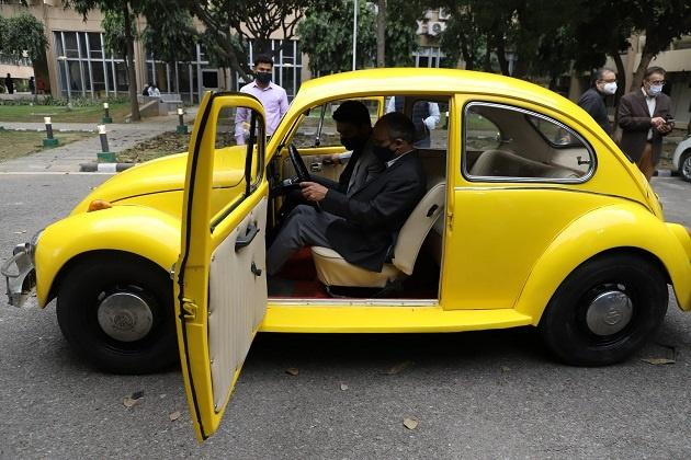 Beetle converted into an EV