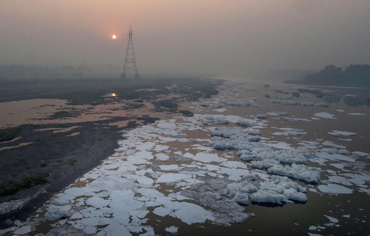 froth in yamuna river