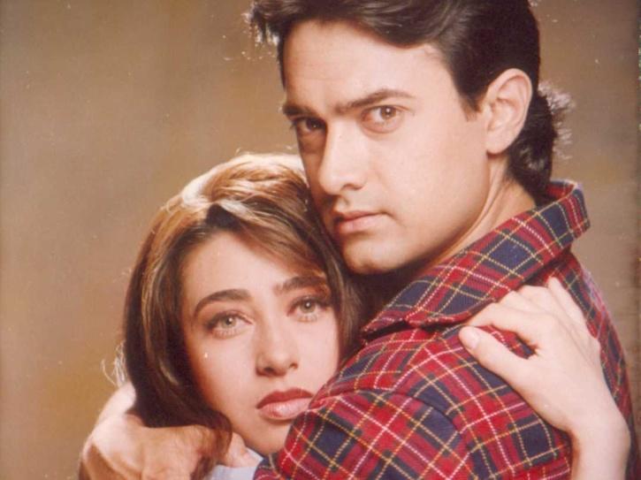 Karisma Kapoor and Aamir Khan in Raja Hindustani.