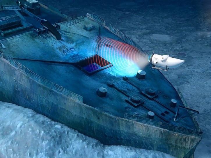 Visit Titanic wreck site underwater.