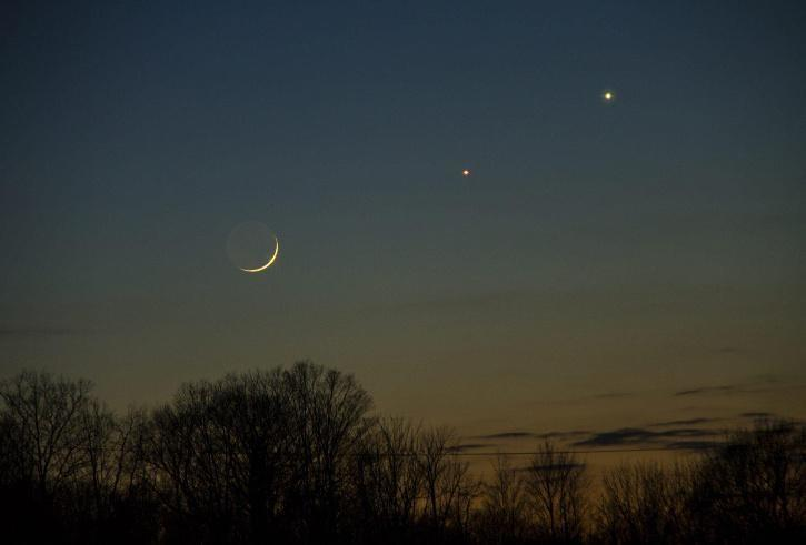 Moon with mars and jupiter