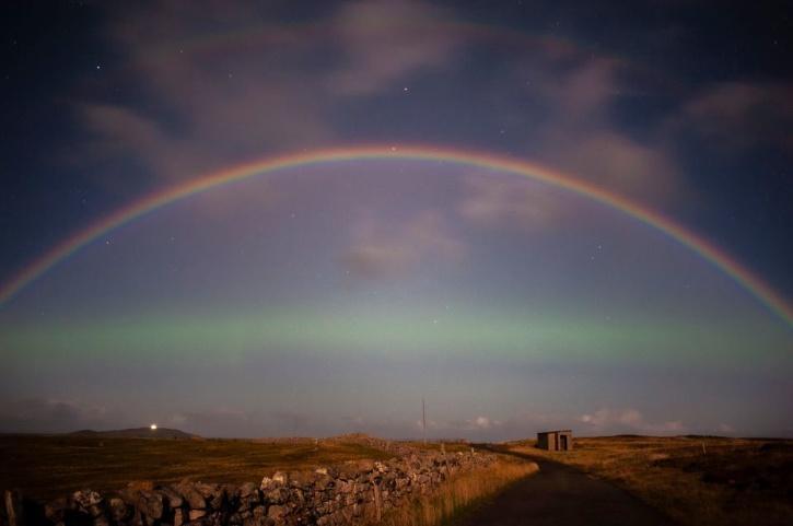 Moonbow and northern lights in scotland