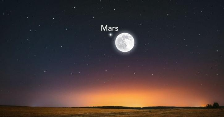 blue moon with red mars