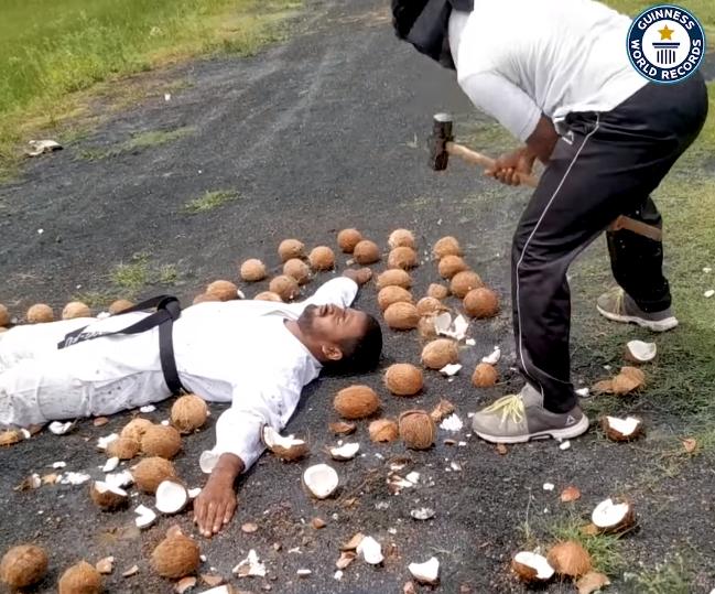 World record smashing coconuts