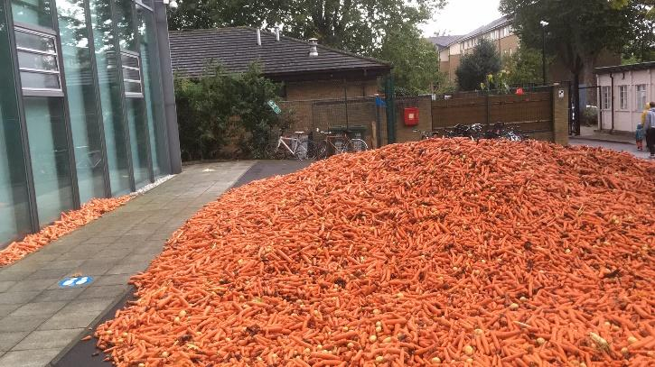 Goldsmiths responded to one of the tweets and explained that the carrots were part of an art installation by a student