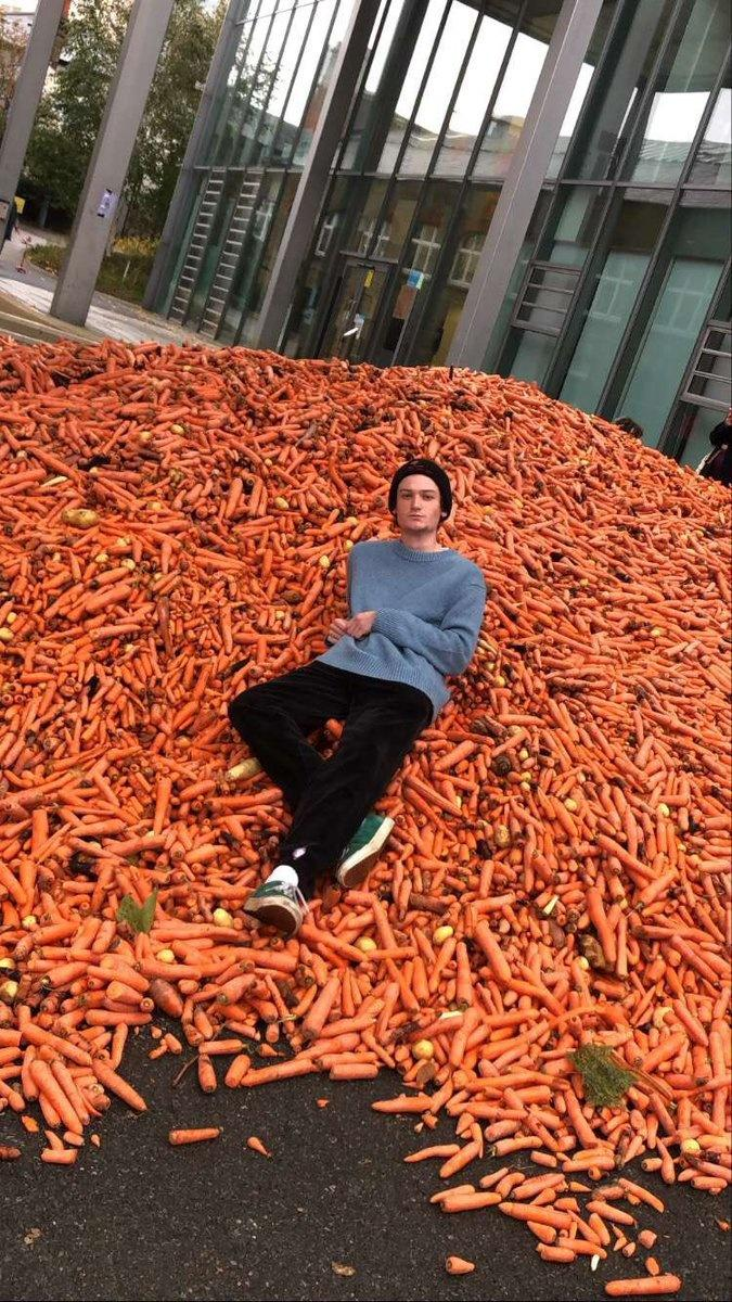 29,000 kg of carrots was being dumped by a lorry in front of the Goldsmiths College in south London.
