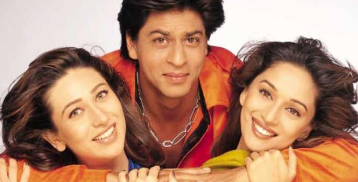Karisma Kapoor, Shah Rukh Khan and Madhuri Dixit in Dil Toh Pagal Hai.