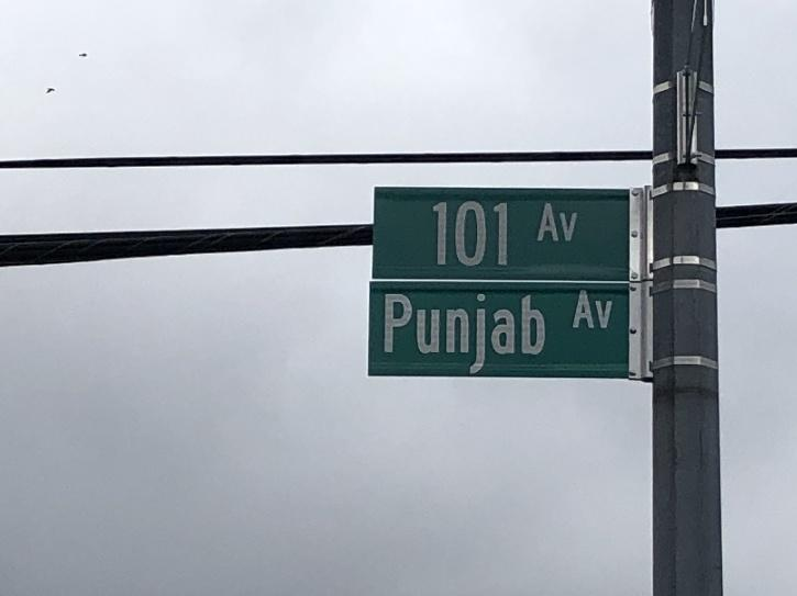 101 Avenue, from 111 Street to 123 Street has now been co-named as Punjab Avenue