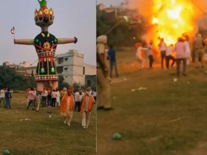 Ravana effigy explores at an event