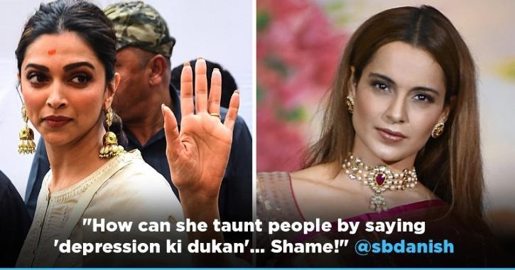 Kangana Ranaut taunts Deepika Padukone by calling her Depression Ki Dukaan on World Mental Health Day.