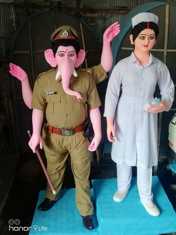 Lord Ganesh has taken the avatar of a police officer, Goddess Lakshmi has been depicted as a nurse.