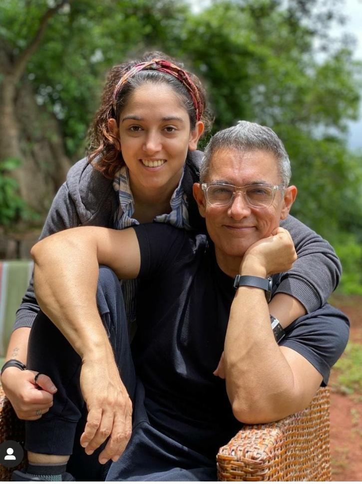 Aamir Khan with daughter Ira Khan.