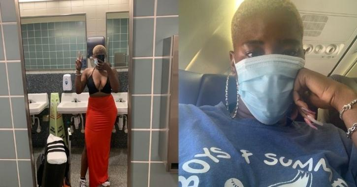 Ms Eubanks shared a picture of her outfit, which consisted of a low-cut black halter top and a long skirt