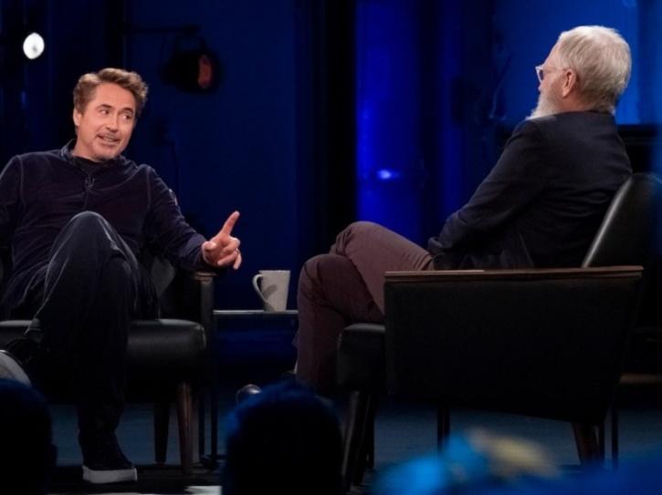 Robert Downey Jr with David Letterman.