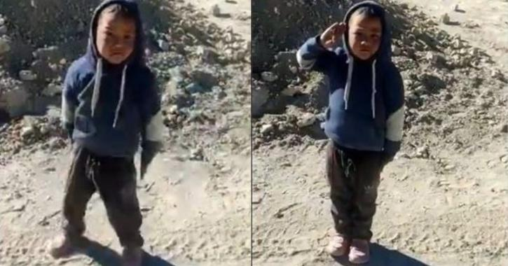 Indian Army soldier teach Ladakhi boy how to salute