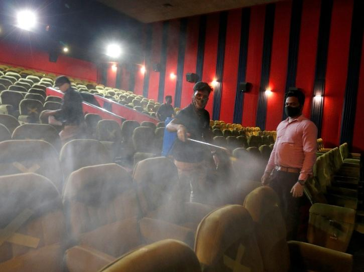 The sanitization process is also being taken care of in cinema halls of Delhi.