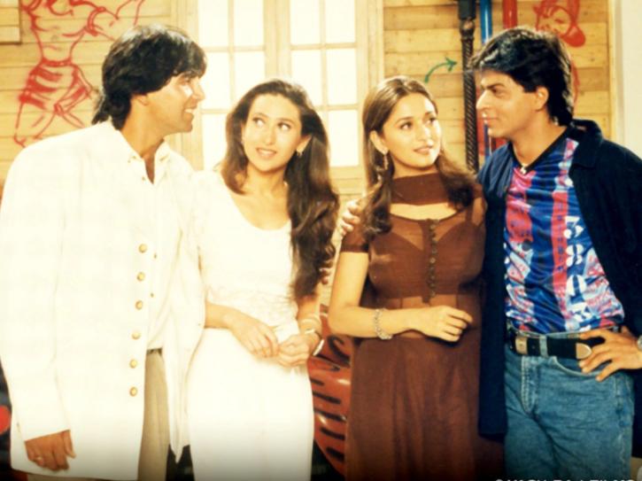 Akshay Kumar, Karisma Kapoor, Shah Rukh Khan and Madhuri Dixit in Dil Toh Pagal Hai.