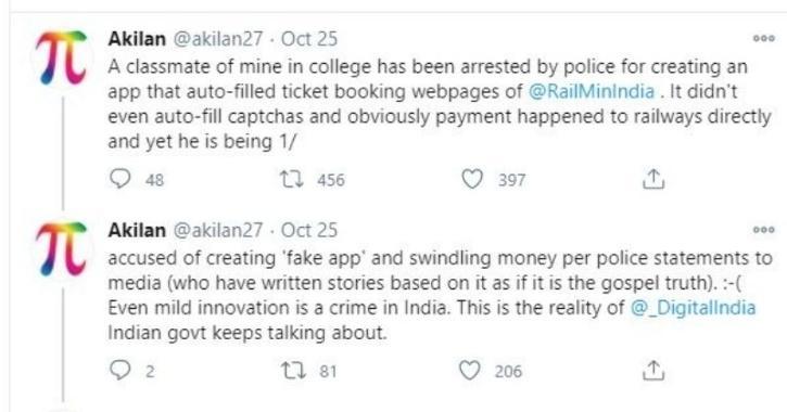 Twitter thread on Yuvarajaa's arrest for rail ticket booking app