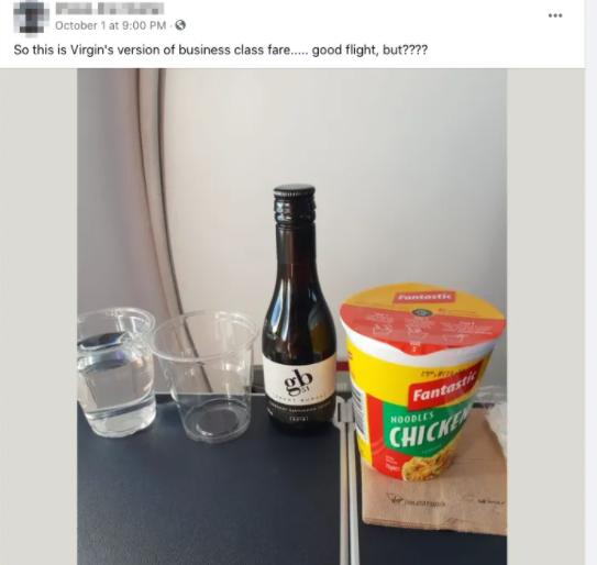 Virgin Australia is slammed for serving two minute noodles to passengers
