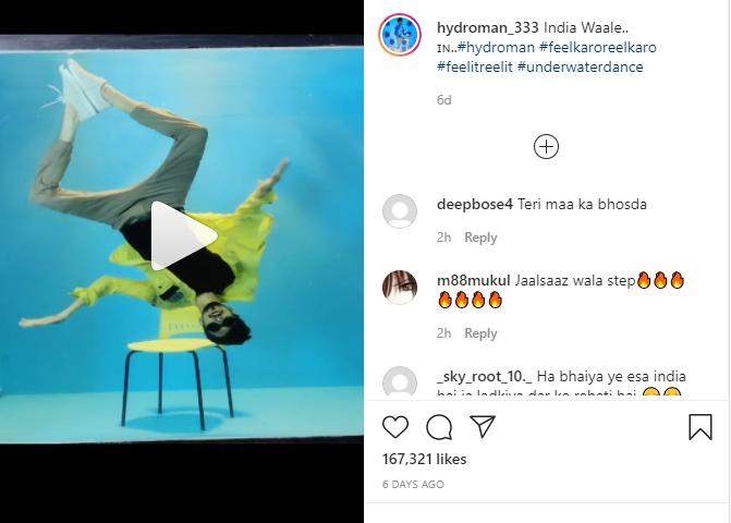 Instagram post of underwater dancer