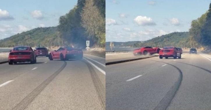 Corvette spins out of control