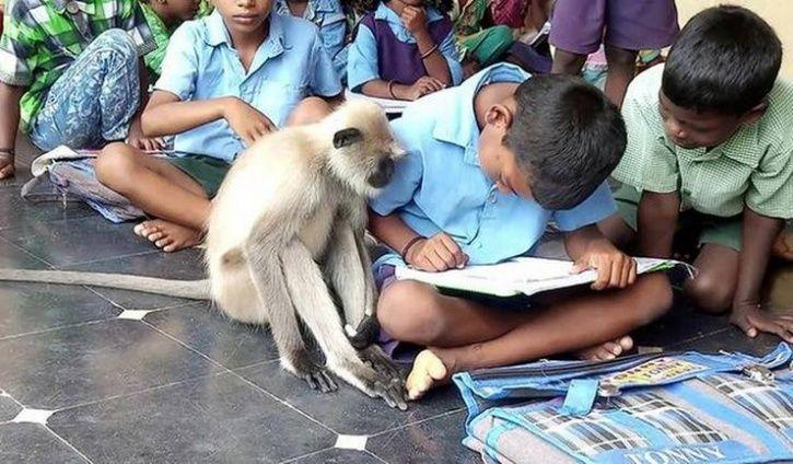 Lakshmi attending classes at school