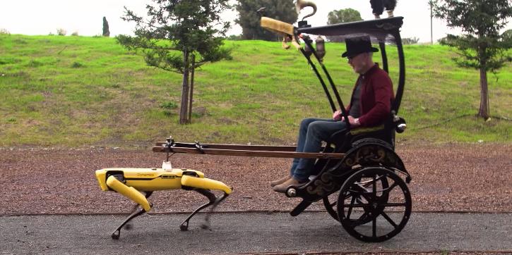 Adam Savage built a rickshaw to be pulled by Boston Dynamics