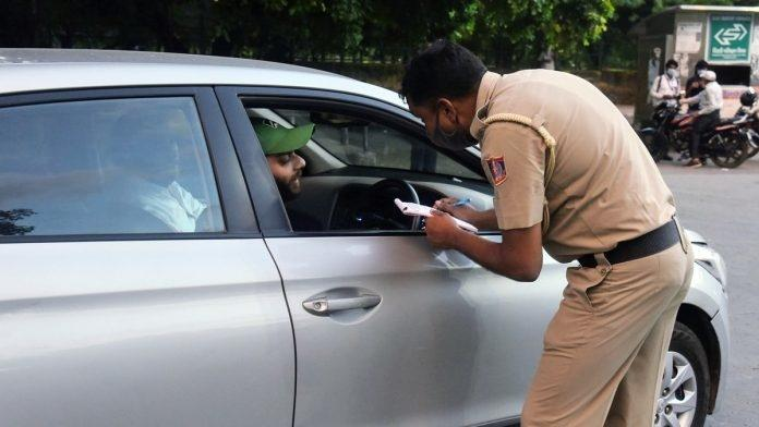 Challan for not wearing mask