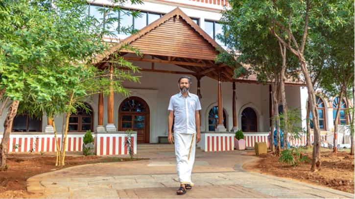 Sridhar Vembu in front of his office in Malamparai, Tami Nadu