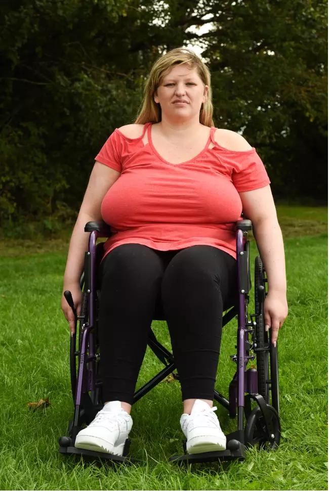 Debbie in a wheelchair
