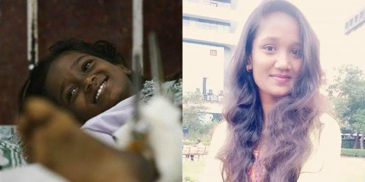 Devika in the hospital; (Right) A 20-year-old Devika a decade later