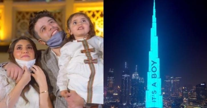 Dubai influencers project 'It's a boy!' on world's tallest tower