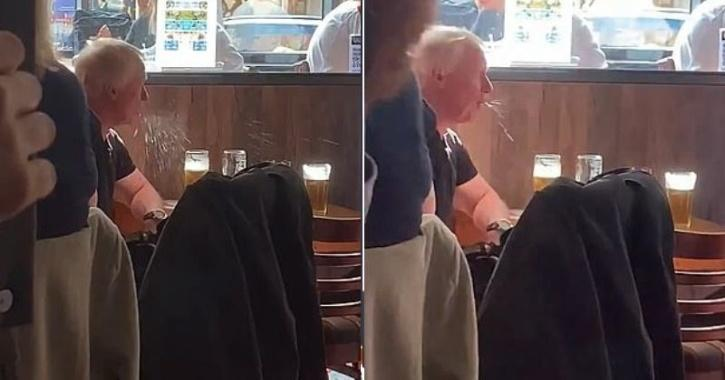 Video of elderly man talking over pints in a pub has provoked covid fears