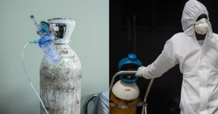 Oxygen cylinder for coronavirus patient