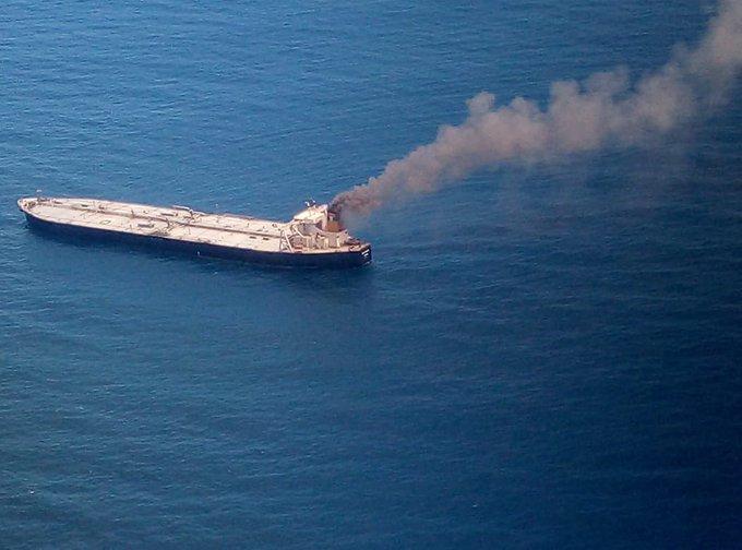 Indian Ships Battling Fire On Board Oil Tanker