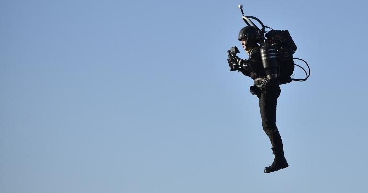 a man in a jetpack