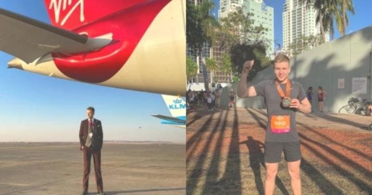 man runs marathon in plane