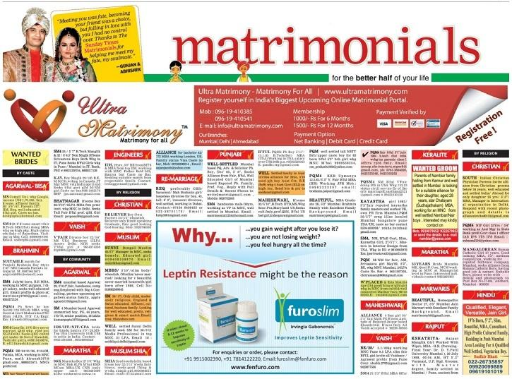 matrimony ad