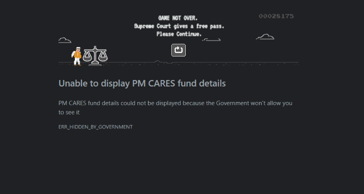 pm cares fund not found