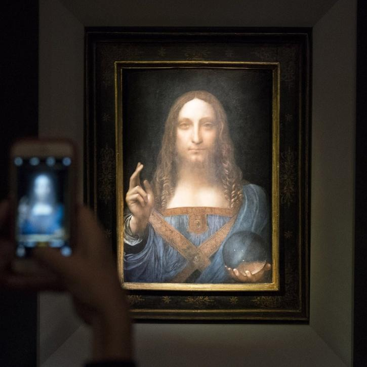 """The honour for the most expensive painting belongs to """"Salvator Mundi"""". The painting of Christ has not been seen in public since it was bought for $450 million by the Saudi royal family at a 2017 Christie's auction."""