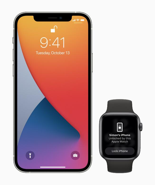 Customers can use their Apple Watch to securely unlock iPhone when attempting to use Face ID while wearing a face mask